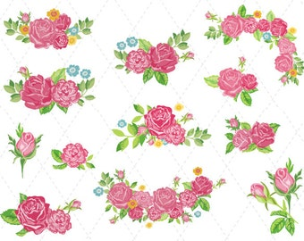 Digital flower frame clipart pink frame clip art pink floral etsy digital flower clipart pink flower clip art pink flower bouquet clipart flower bunches clip art flower corner frame scrapbook decor 0160 mightylinksfo