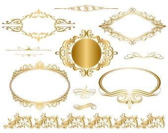 Instant Download Golden Frame Border Clipart Gold Digital Flourish Swirl Clip Art Vintage Scrapbook Embellishment 0044