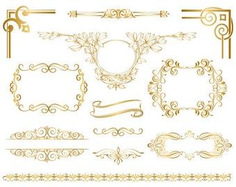 Instant Download Golden Frame Border Clipart Gold Digital Flourish Swirl Clip Art Vintage Scrapbook Embellishment 0050