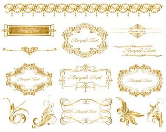 Instant Download Golden Frame Border Clipart Gold Digital Flourish Swirl Clip Art Vintage Scrapbook Embellishment 0038