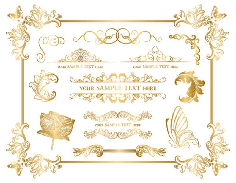 313a97bafd79 Instant Download Golden Frame Border Clipart Gold Digital