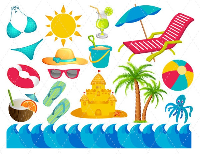digital beach vacation clip art summer fun clipart summer etsy rh etsy com Swimming Clip Art summer funny clipart