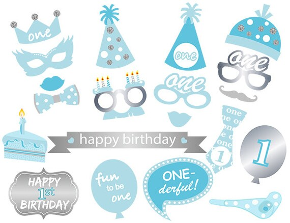 Printable 1st Boy Birthday Party Photo Booth Props Boy 1st Etsy