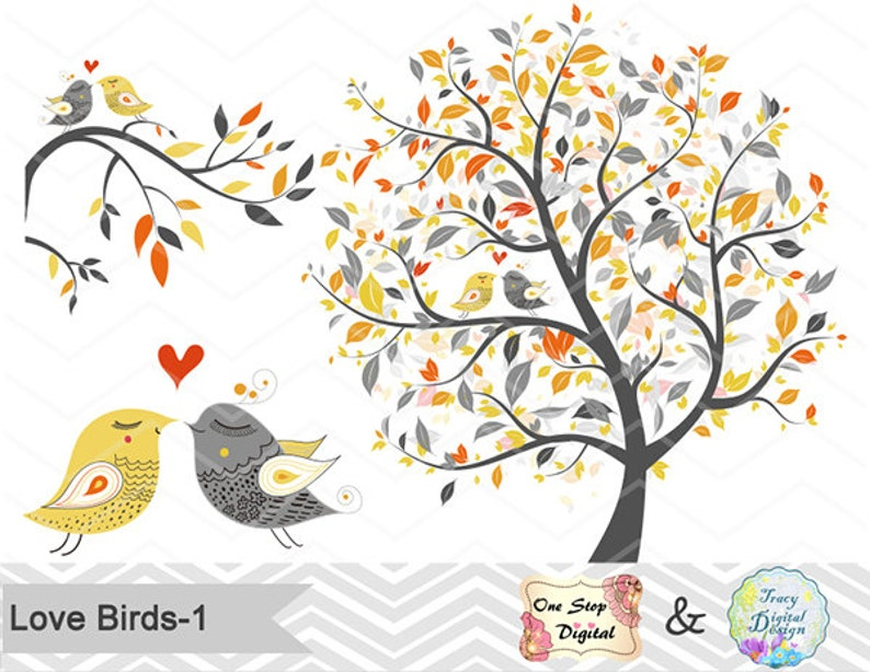 Instant Download Tree Birds Clipart Yellow Grey Tree Clip Etsy