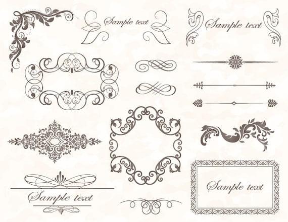 Cadre Bordure téléchargement instantané cadre vintage gris bordure clip art | etsy
