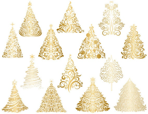 gold weihnachtsbaum clipart gold gedeihen wirbelt etsy. Black Bedroom Furniture Sets. Home Design Ideas