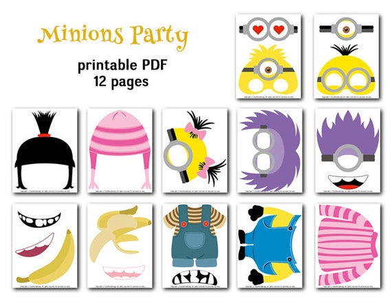 new concept 85159 ae7d8 Digital Minions Photo Booth Props, Printable Minions Party PhotoBooth  Props, Instant Download Minions Birthday Party Photobooth Props 0156