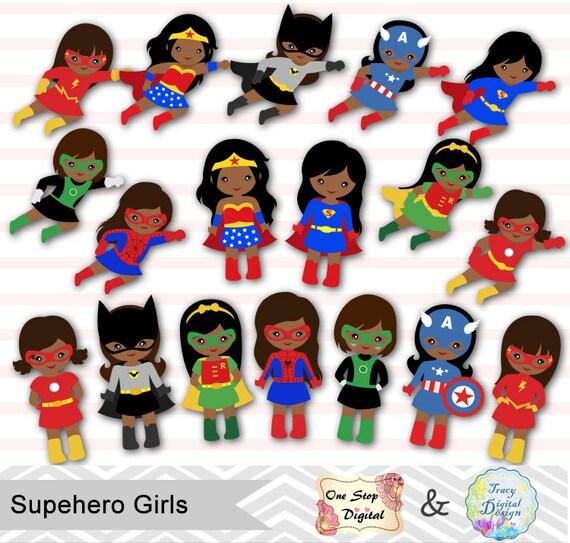 27 african american little girl superhero digital clip art etsy rh etsy com cute girl superhero clipart superhero girl digital clipart