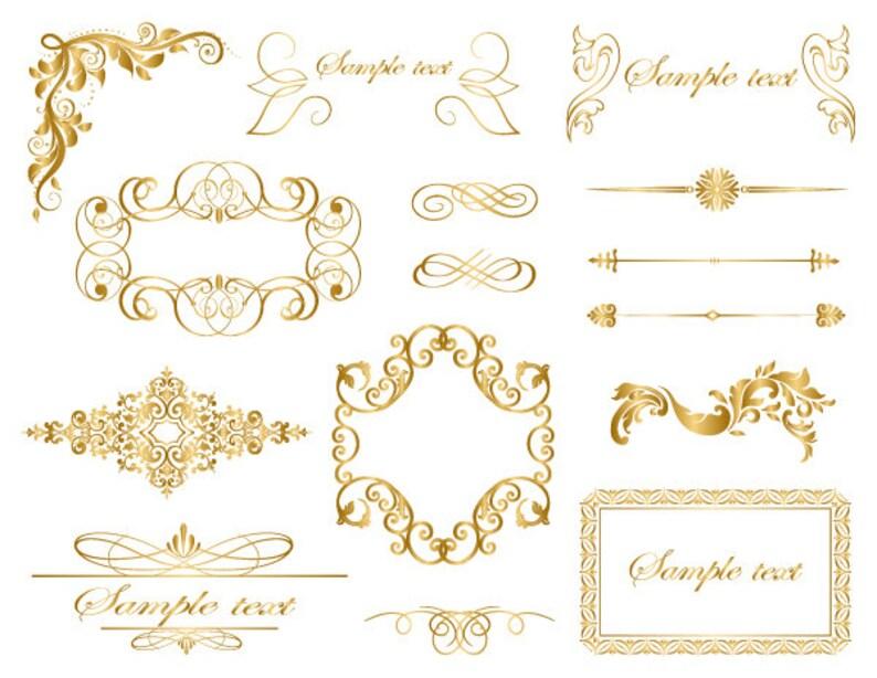67461324135f Instant Download Gold Frame Border Clip Art Gold Flourish