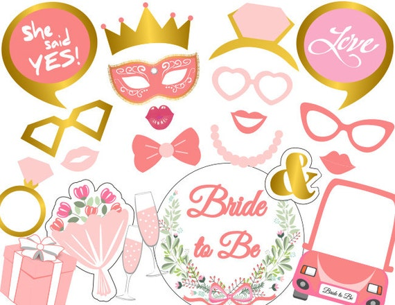 Printable Bridal Shower Photo Booth Props Bride Photo Booth Etsy