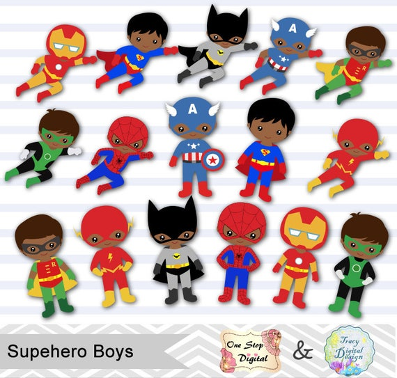 Superhero Art For Little Boys: 24 African American Little Boy Superhero Digital Clip Art