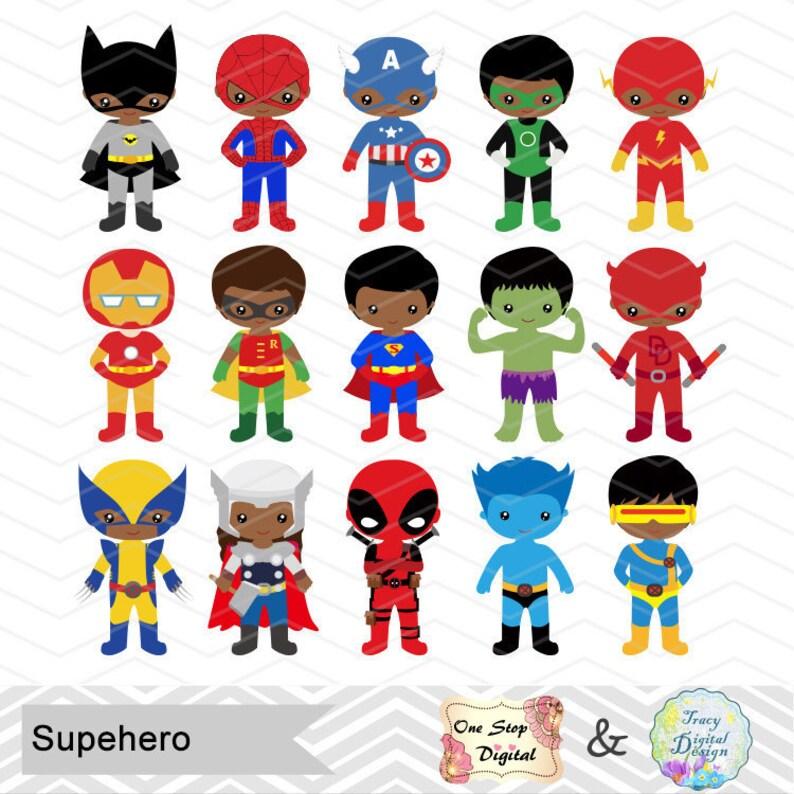 30 African American Little Boy Superhero Digital Clip Art Boys Superhero Clipart African American Superhero Party Superhero Boy Combo 0275