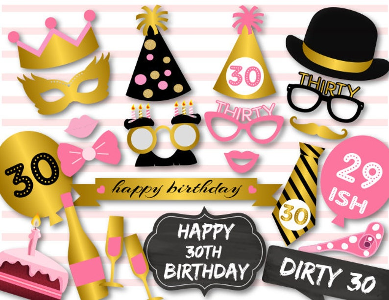 Printable 30th Birthday Party Photo Booth Props Dirty Thirty