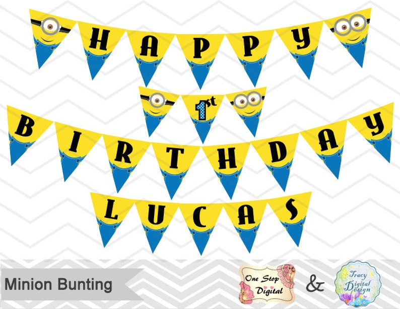 graphic about Printable Minions titled Prompt Obtain Minions Bunting, Printable Minions Banner, Minions Birthday Occasion Banner, Printable Minions Occasion Banner, 00006