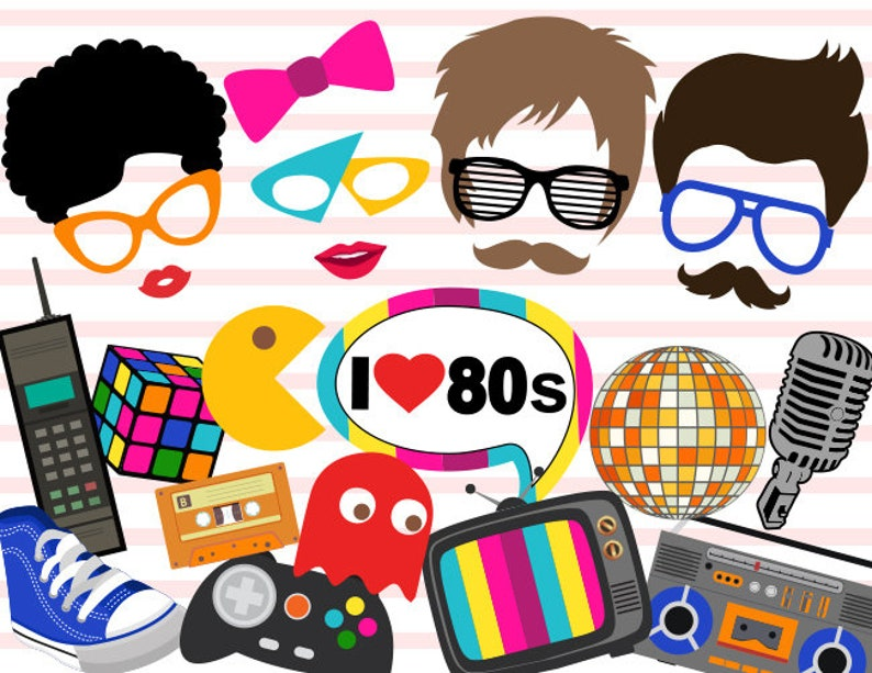 Printable 1980s Party Photobooth Props 80s Photo Booth Etsy
