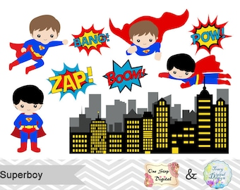 Instant Download Superhero Little Boy Digital Clip Art, Digital Superhero Clipart, Cute Superboy Clipart, Superhero Pop Art Text Bubble 0184