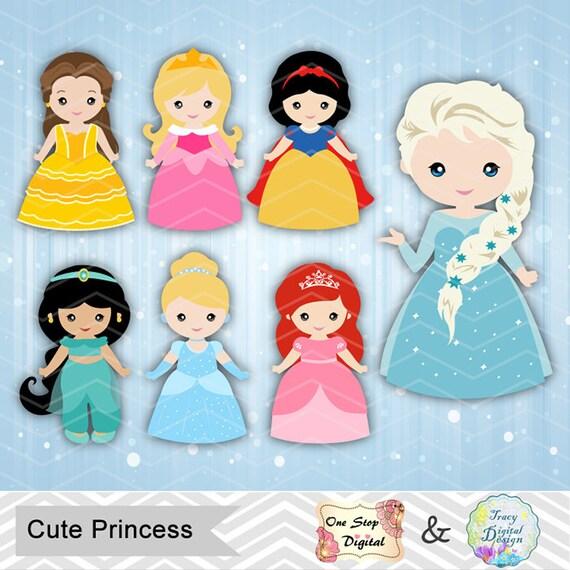 Digital Princess Clipart Disney Princess Clip Art Cute | Etsy