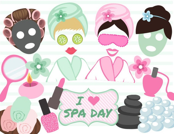 Printable Spa Party Photo Booth Props Digital Spa Girl Photo Etsy