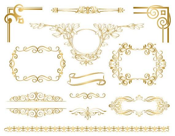 gold frame border oval image instant download golden frame border clipart gold digital etsy