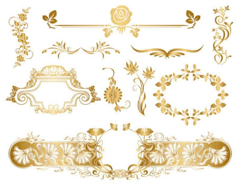 781a442a1a0d GOLD Digital Frame Clip Art Flourish Swirls Floral Frame