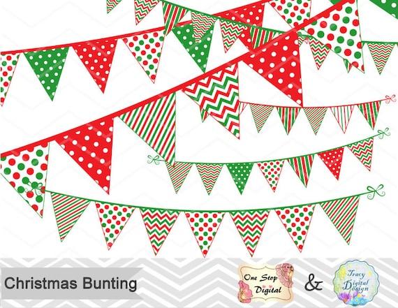 Digital Christmas Bunting Clipart Christmas Banner Clip ...