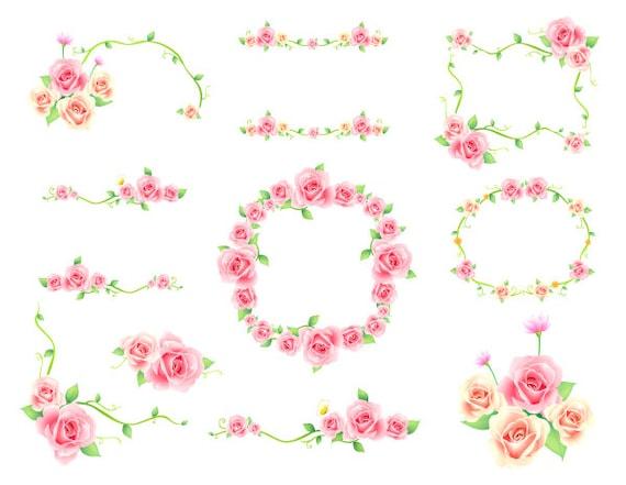 Digital flower frame clipart pink frame clip art pink floral etsy image 0 mightylinksfo
