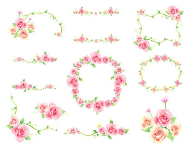 Digital Flower Frame Clipart Pink Frame Clip Art Pink Floral | Etsy
