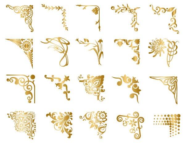 Instant Download Golden Digital Frame Corner Ornate Gold Etsy