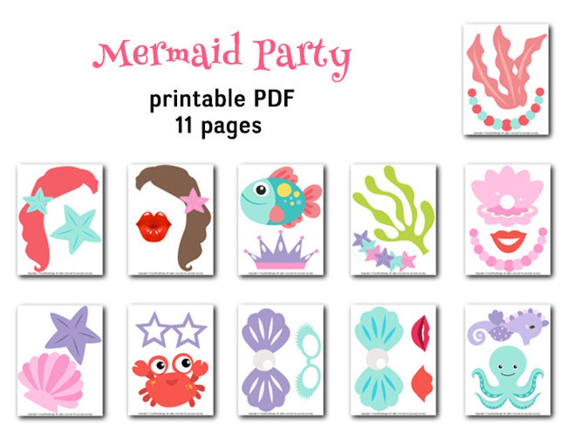 Mermaid Princess Party Printable Mermaid Photo Booth Props Little Mermaid Party Photo Booth Props Digital Mermaid Photo Booth Props 0379