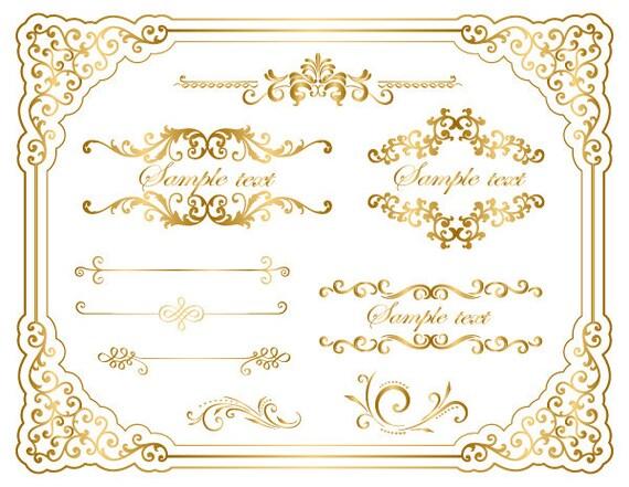 gold frame border simple image instant download gold frame border clip art golden flourish etsy
