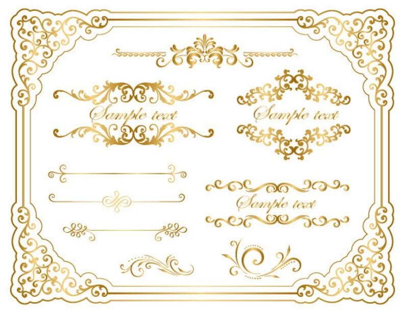 0598030227a7 Instant Download Gold Frame Border Clip Art Golden Flourish