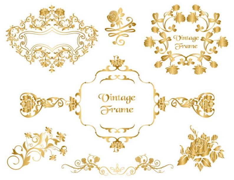 c30c664f8ef8 GOLD Digital Frame Clip Art Gold Floral Frame Clipart Flourish
