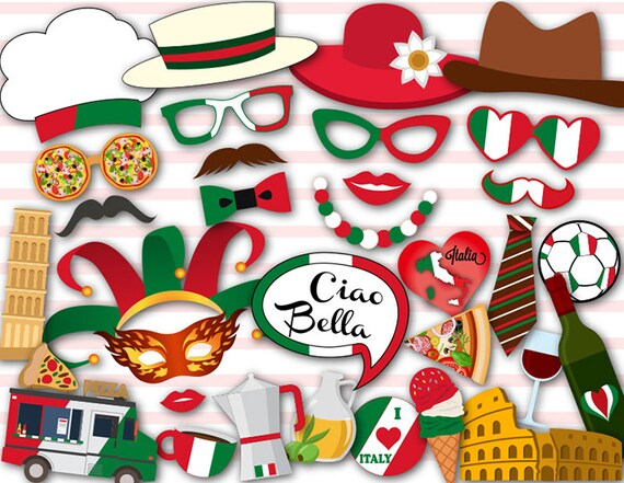 Digital Italy Photo Booth Props Printable Italy Travel Party Etsy