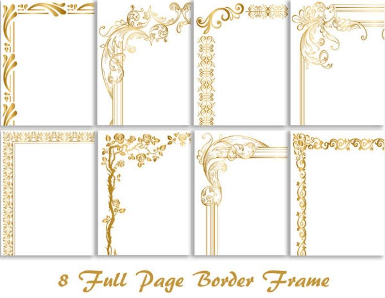 89eed15474af 8 Gold Digital Full Page Border Clip Art Gold Full Page Frame