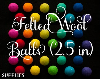 """Felted Wool Balls (2.5"""" - For Woven Wheel Pincushions)"""