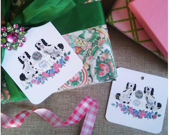 6 Staffordshire Pup Spring Gift Tags Labels Easter Wedding Mother's Day Hollywood Regency Dog Cavalier Spaniel Can Be Personalized