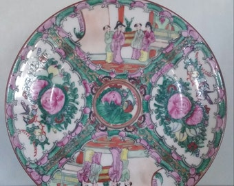 Vintage Famille Rose Medallion Plate Dish Chinoiserie Chinese Porcelain Asian Export Hollywood Regency Painted Hong Kong