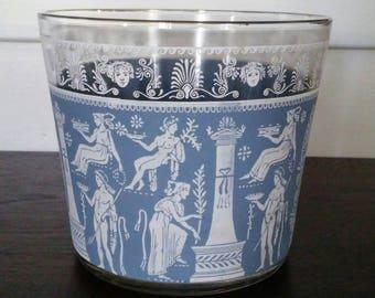 Vintage Jeannette Hellenic Blue Ice Bucket Grecian Neoclassical Greek Midcentury Barware