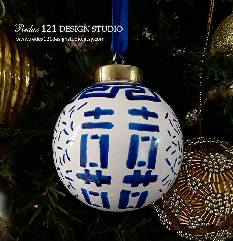 Hand Painted Blue And White Double Happiness Porcelain Ball Christmas Ornament Holiday Gift Chinoiserie Ginger Jar