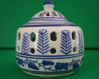 Vintage Blue and White Chinese Porcelain Candle Pot with Lid Pierced Votive Candle Holder Chinoiserie Asian Hand-Painted Porcelain Silvestri