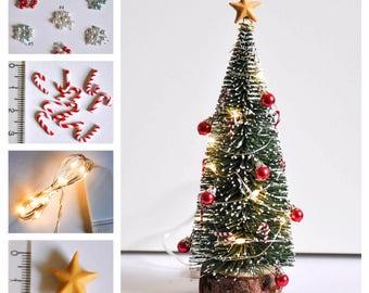 mini christmas decorations set mini baubles mini candy canes mini lights mini star topper