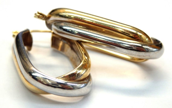 14k Two Tone Gold Two Cross Hoop Earrings