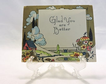 1920s cards etsy vintage glad you are better greeting card 1920s art deco gold gilding country cottage by pond previously signed m4hsunfo