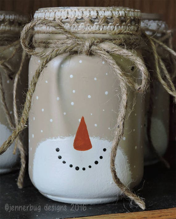 Mason Jar Christmas Decorations: Snowman Mason Jar Holiday Decor Mason Jars