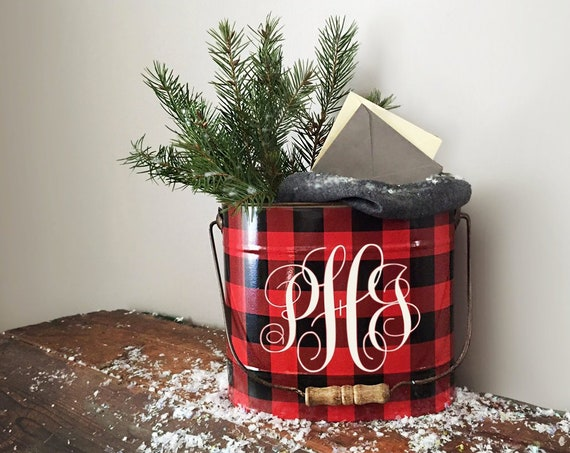 Buffalo Plaid Monogram Pail | Buffalo Plaid Christmas Decor | Buffalo Plaid Monogram