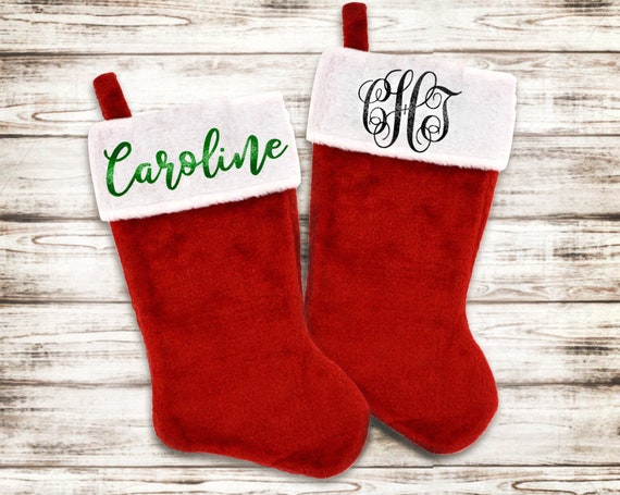 Personalized Christmas Stocking - Santa Stocking - Custom Name Glitter Stocking