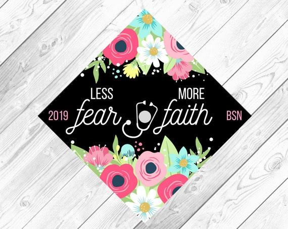 Ready by Tomorrow! Customized Digital Download Graduation Cap Topper: Floral Custom Quote