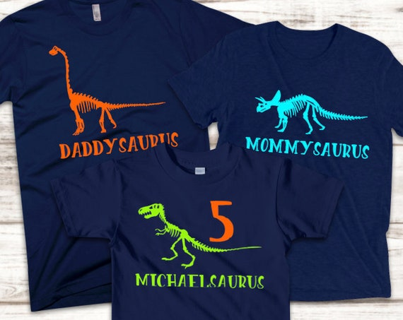 Personalized Dinosaur Shirts- Matching Family Set