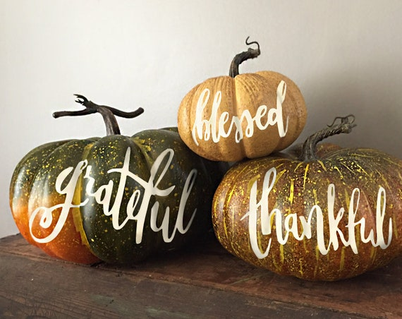 Personalized Giant Pumpkin Trio- Grateful, Thankful, Blessed