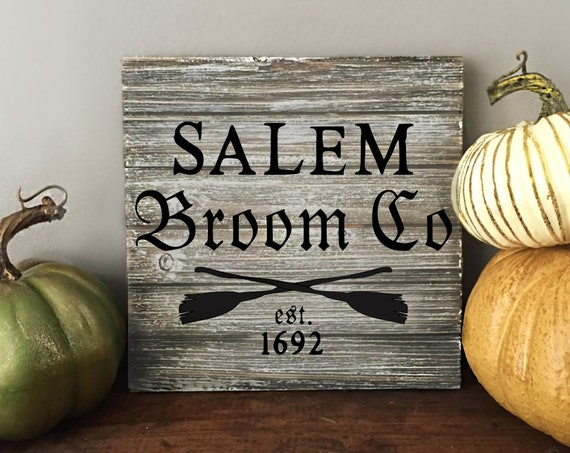 Salem Broom Co. Halloween Sign
